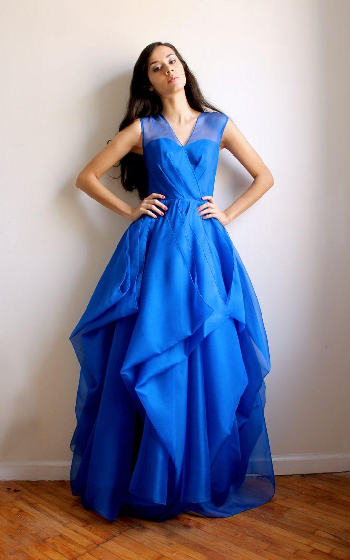 Royal Blue Bridesmaid Dress With Illusion Neckline