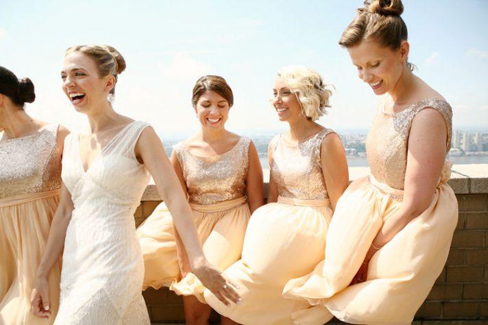 peach sequin bridesmaid dresses