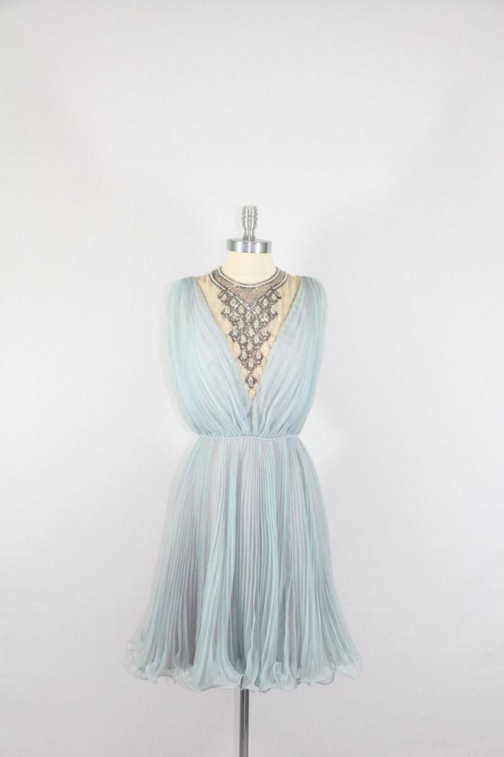 pale blue vintage bridesmaid dress