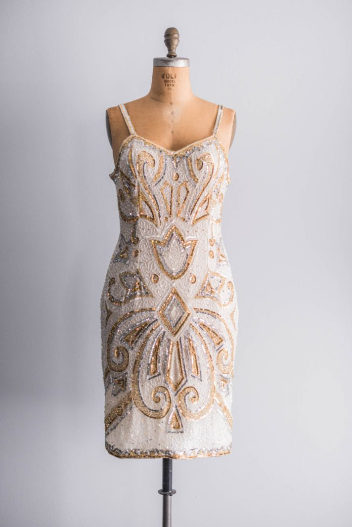 vintage gold beaded bridesmaid dress