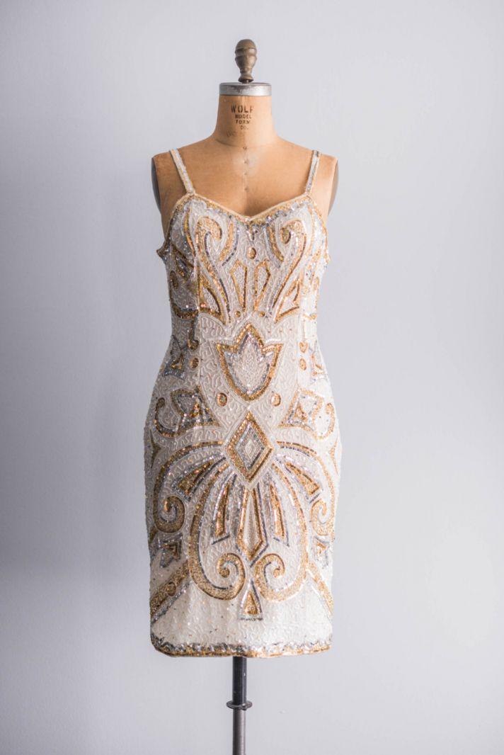 vintage gold beaded bridesmaid dress