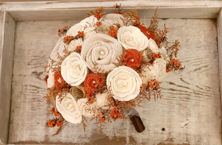 rustic fall alternative wedding bouquet with burlap roses