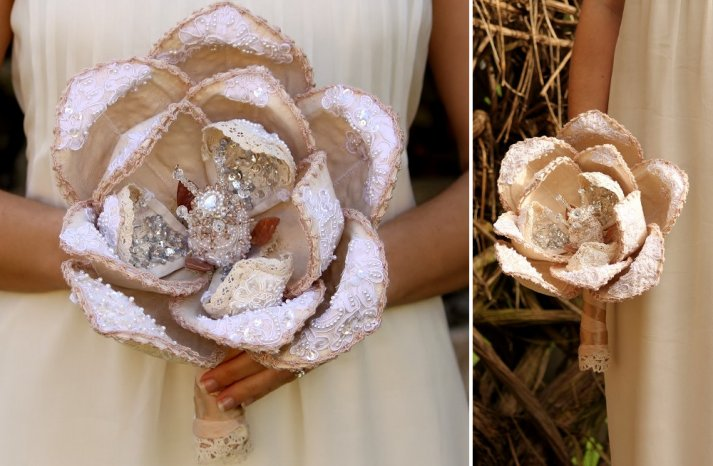 SIngle bloom sequin and crystal wedding bouquet
