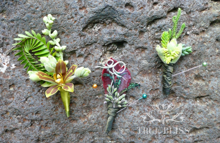 inspired boutonnieres with an exotic twist