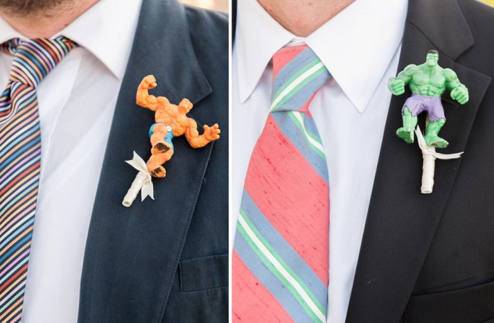 Superhero grooms boutonnieres