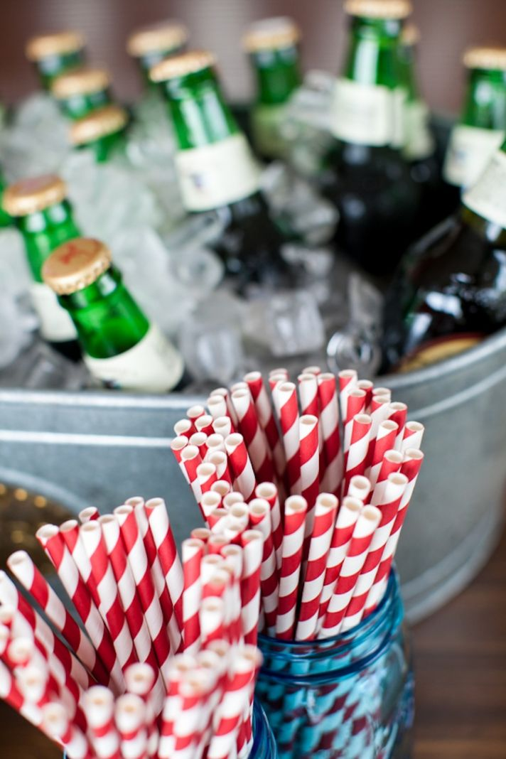 Striped straws for wedding reception bar