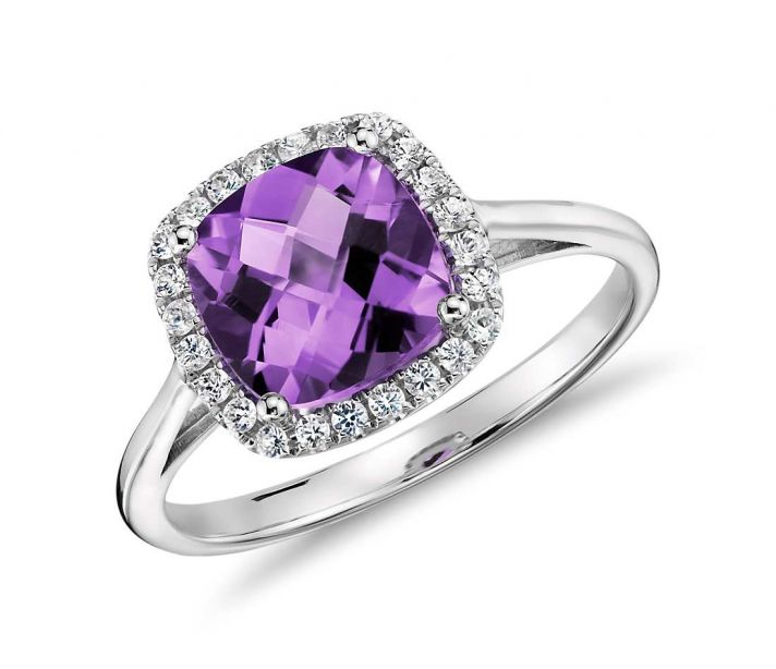 amethyst diamond halo ring