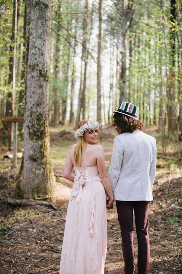Alice in Wonderland Bride and Groom in the Woods