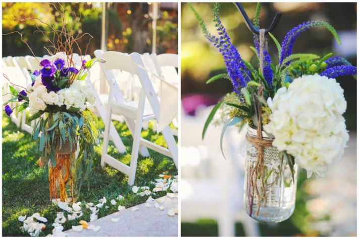 Purple and white ceremony flowers