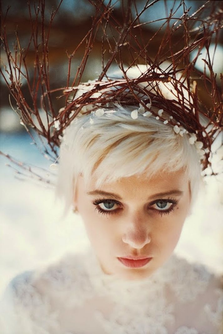 Winter bridal crown of branches