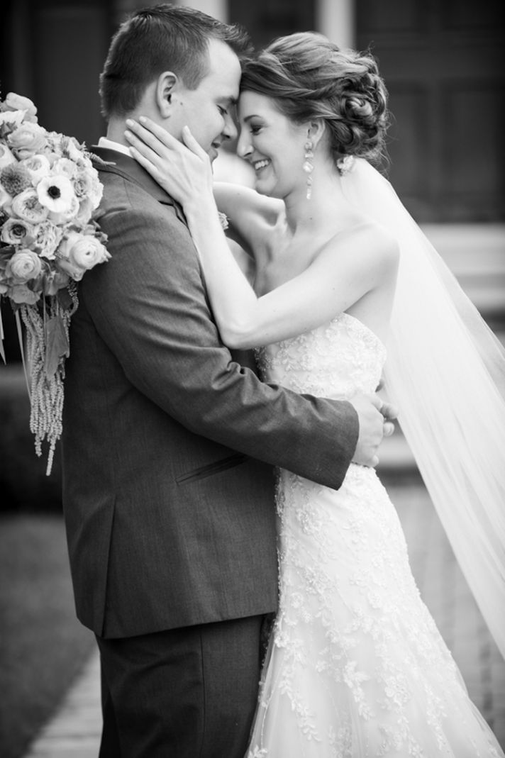 Beautiful Real Wedding couple in black and white