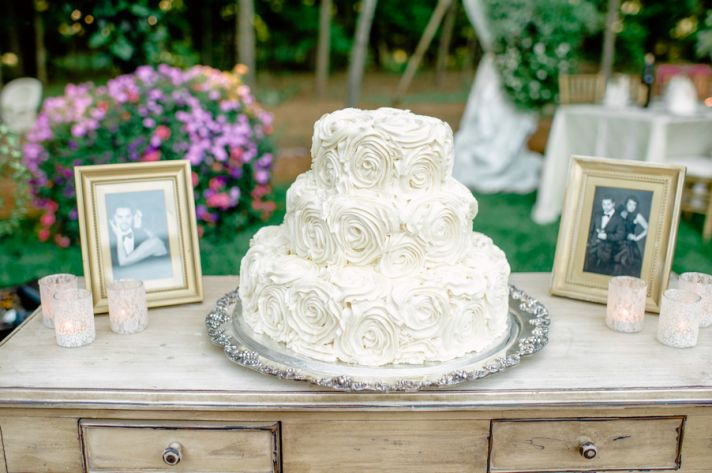 Classic cake on an antique dresser