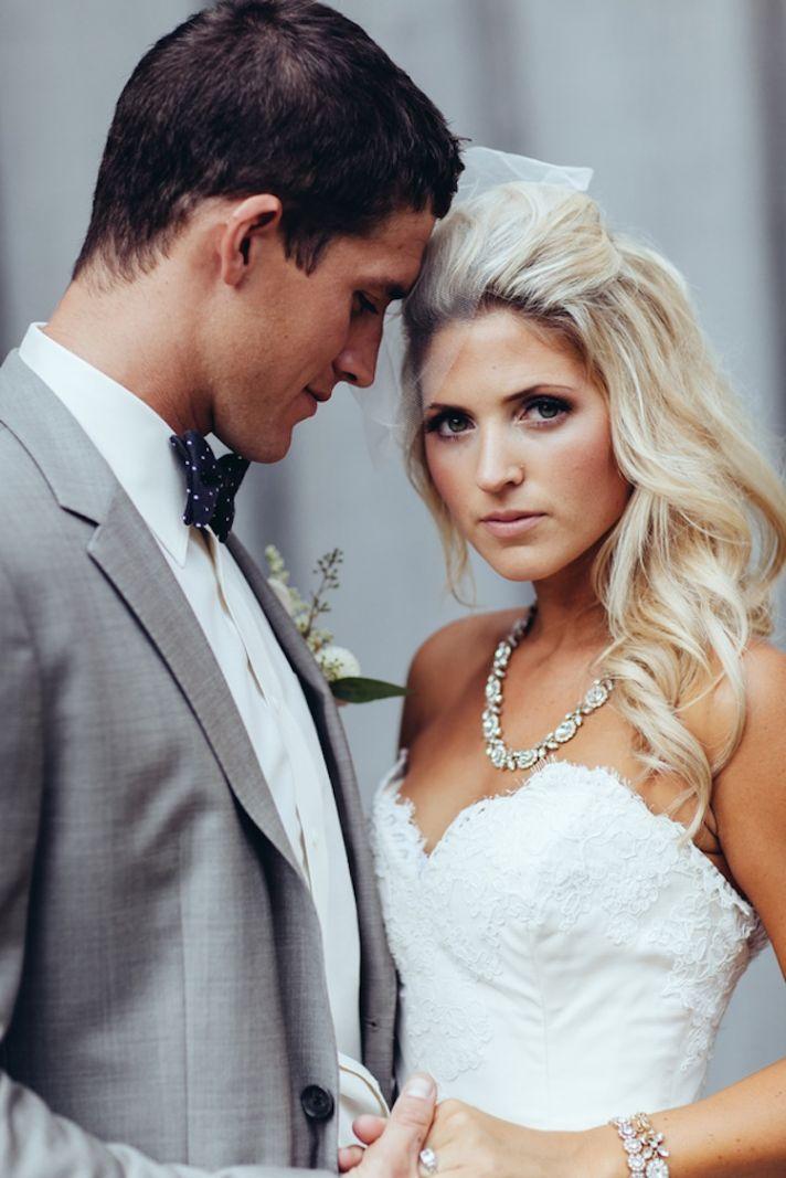 Beautiful real wedding couple pose