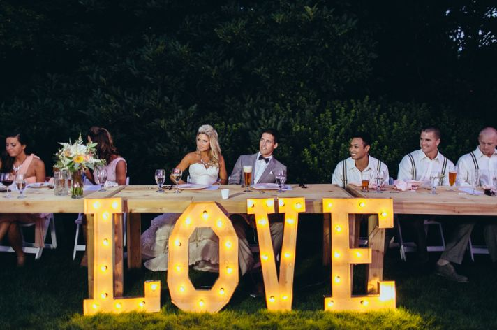 Marquee LOVE letters for real wedding reception