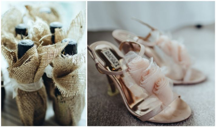 Wedding day shoes and bridesmaids gifts