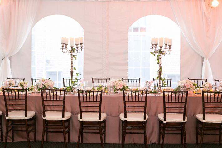 Romantic reception with long tables