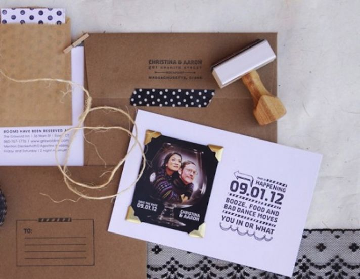 Custom rubber stamp save the date
