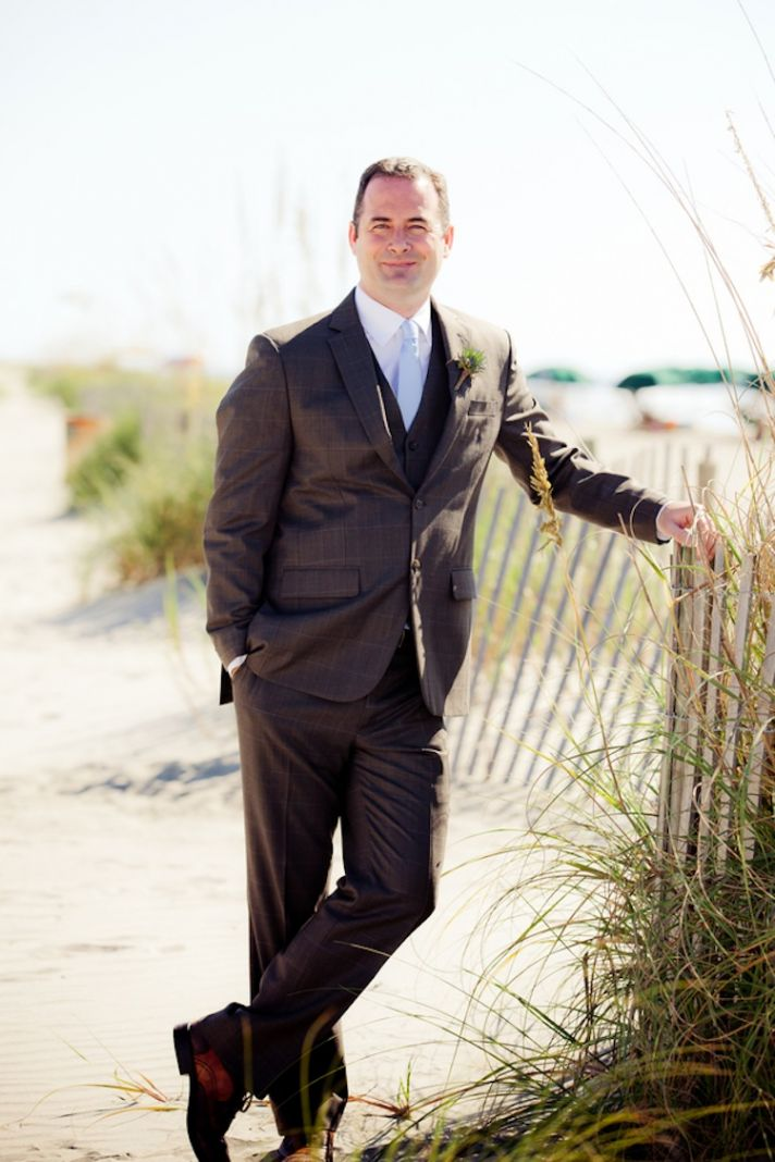 Summer beach wedding groom