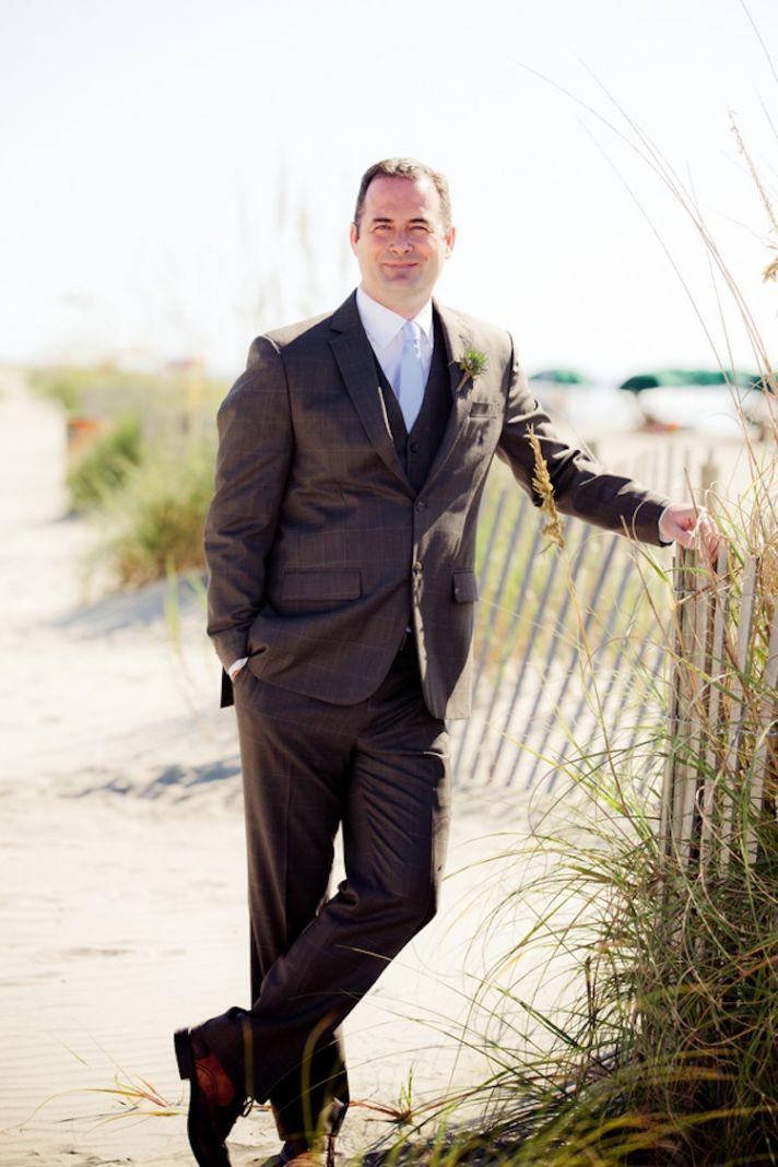 Summer beach wedding groom