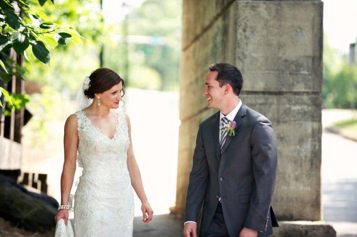 Urban wedding first look