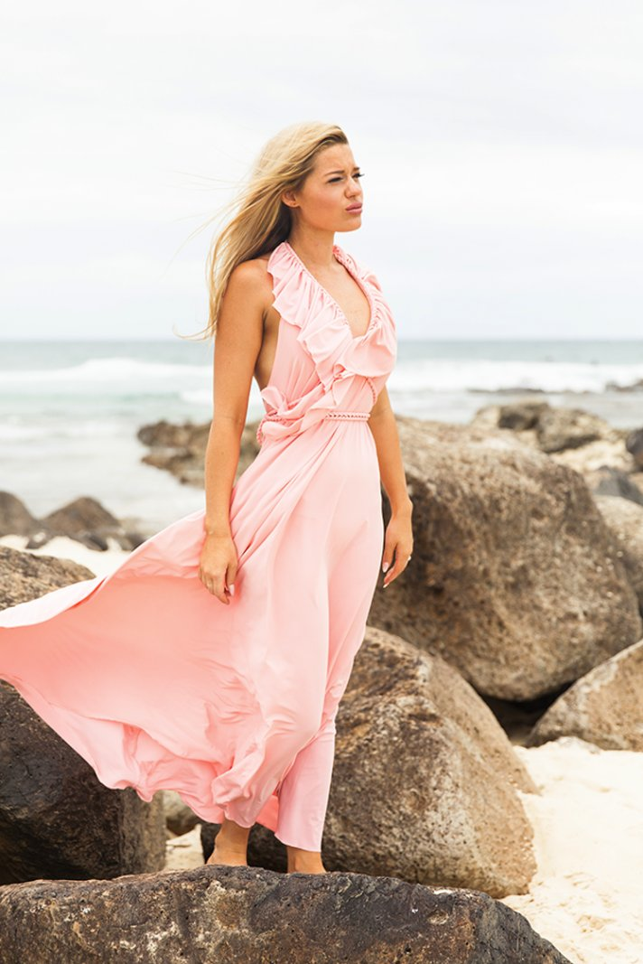 Unique pink wedding dress from Made with Love