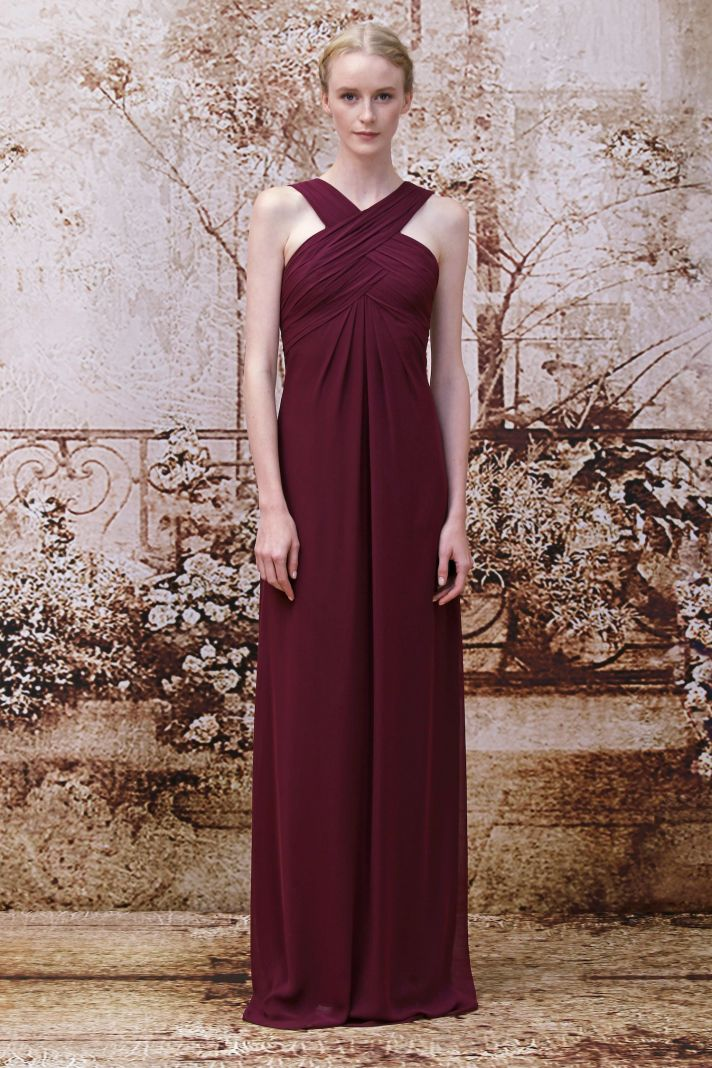 Red bridesmaids dress from Monique Lhuillier