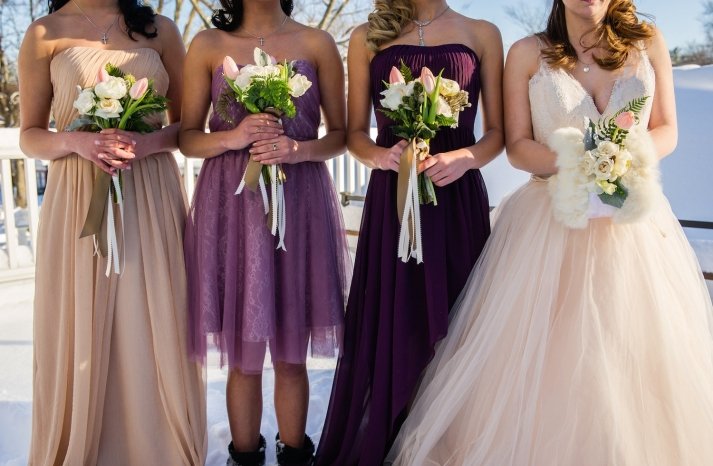Winter flowers for the bridesmaids and bride