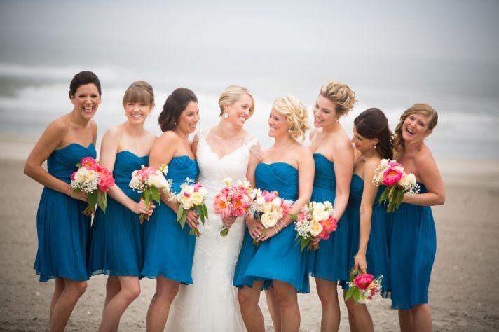 Blue bridesmaids dresses for a beach wedding