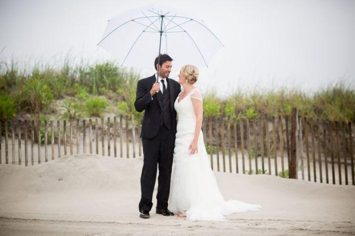 Real wedding couple on the beach