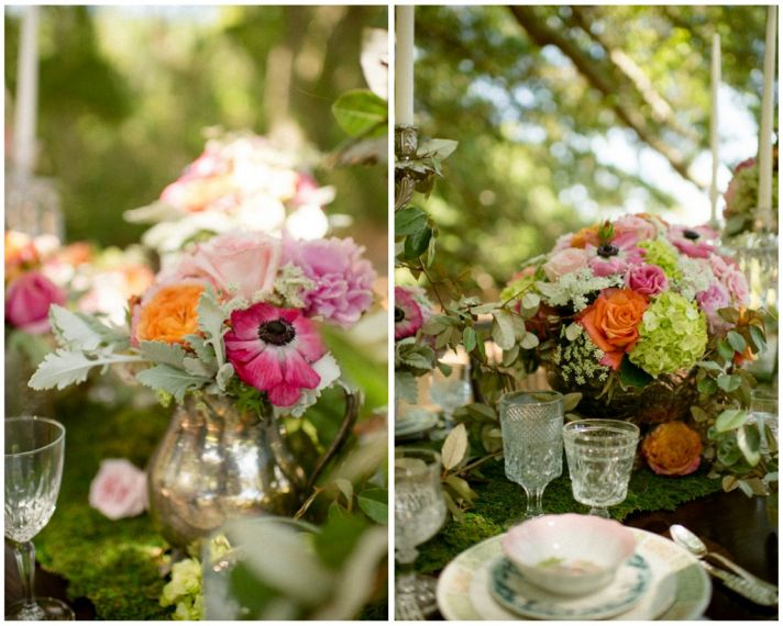 Floral accents for a rustic woodland wedding