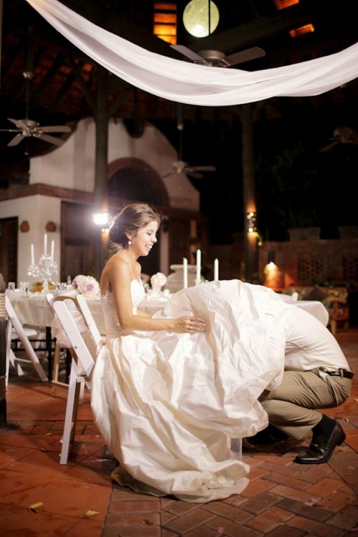 Garter toss at a destination wedding