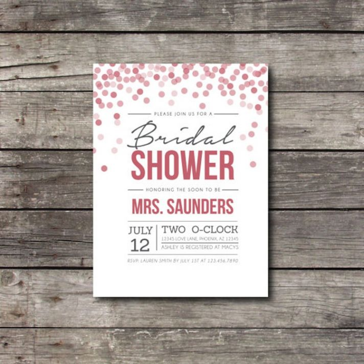 Bridal shower invitation with polka dots