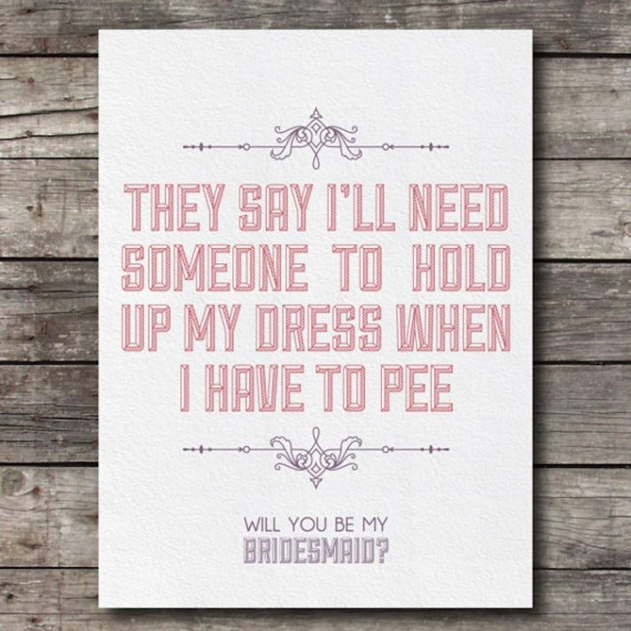 Humorous will you be my bridesmaid stationery