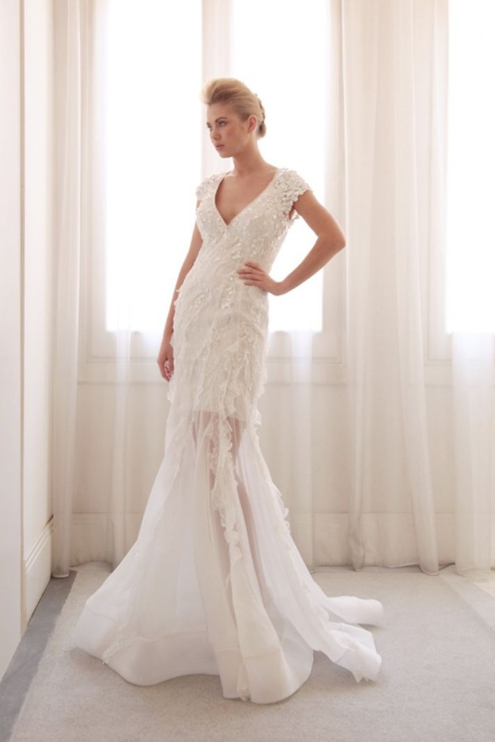 Sheer overlay wedding gown by Gemy Bridal