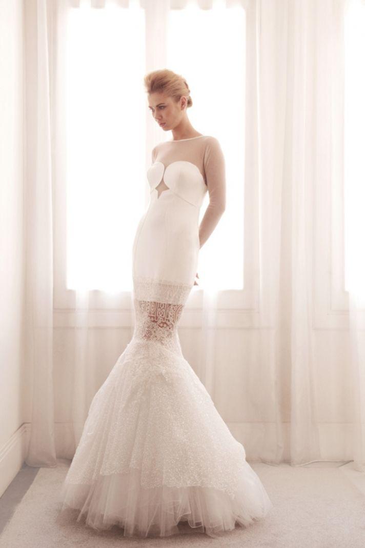 Unique mermaid wedding gown by Gemy Bridal