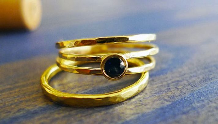 Gold and sapphire engagement ring