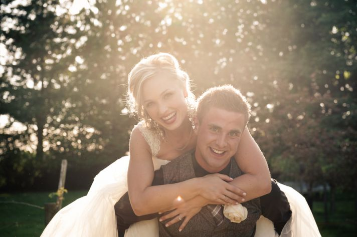 Adorable bride and groom photo