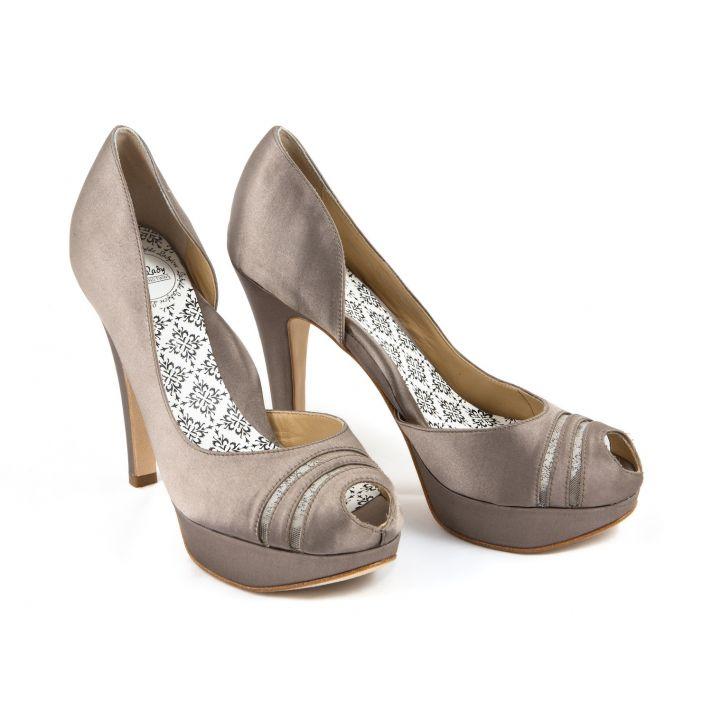 Taupe bridal heels