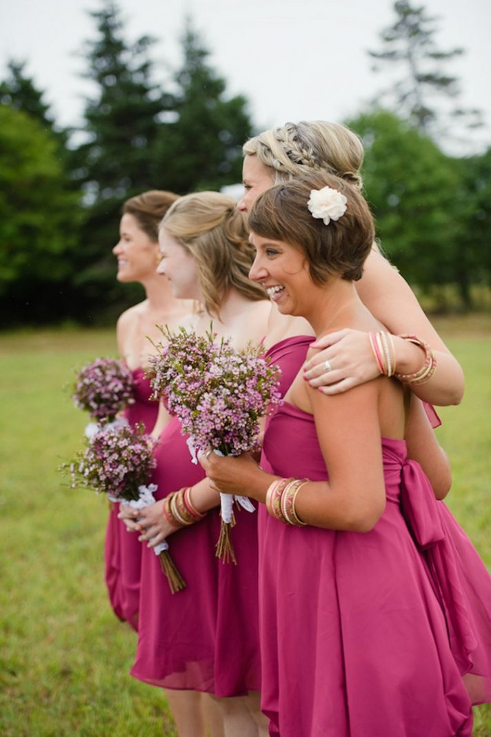 Adorable bridesmaids in pink