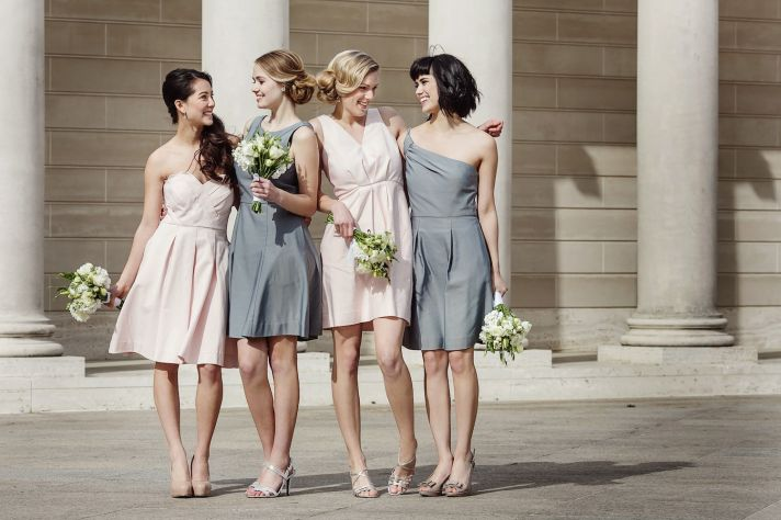 Mix and matched bridesmaids dresses by Weddington Way