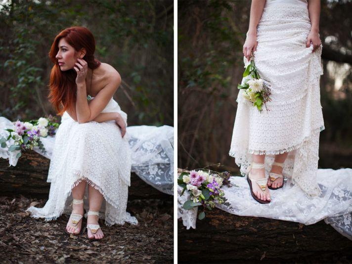 White boho bride sandals