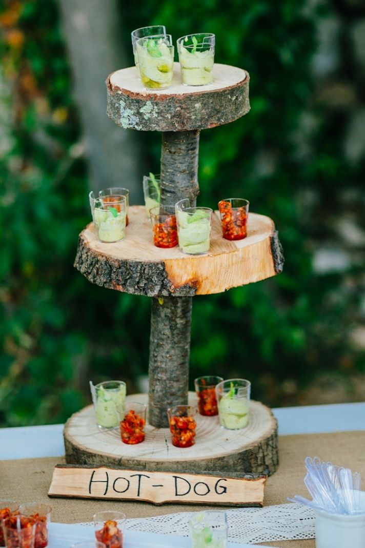 Rustic food display at a French Real Wedding