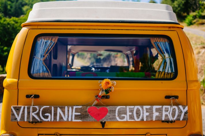 Unique VW van getaway car for a French Real Wedding