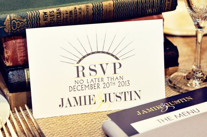 RSVP cards for a museum wedding
