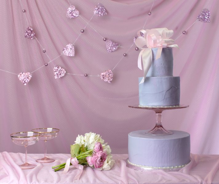 Purple wedding cake from Magnolia Bakery