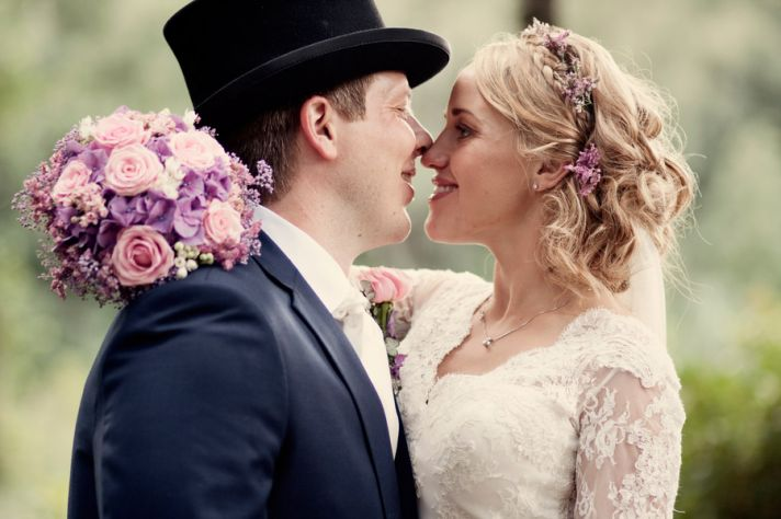 Cute Norwegian wedding couple