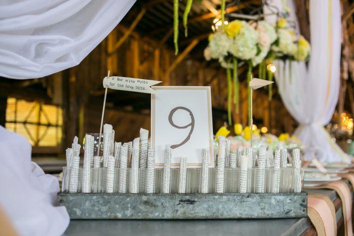 Elegant summer wedding table number