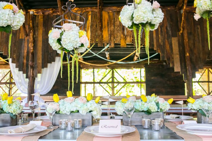 Rustic pastel summer wedding reception