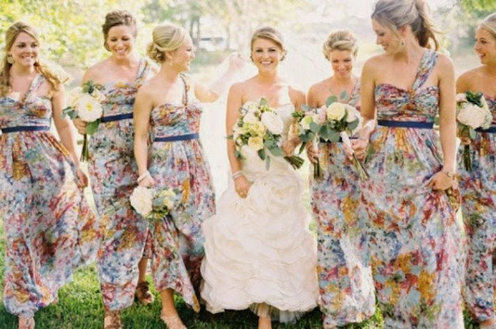 Offbeat floral bridesmaids dresses