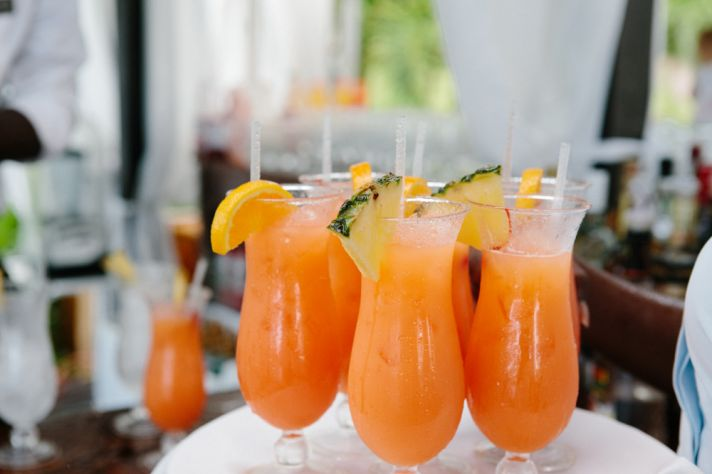 Tropical drinks for a destination wedding